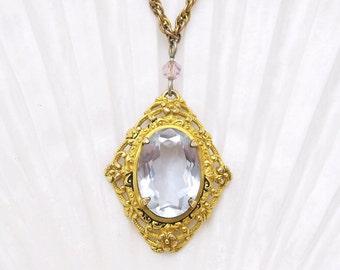 Art Nouveau Antique Pendant Necklace Purple Jewelry N6708