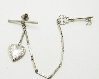 Chatelaine Brooch Heart Locket Bar Link Chain P6709