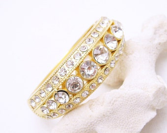 Rhinestone Hinged Clamper Bangle Bracelet B6778