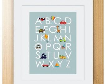 Alphabet Print, Alphabet Print Nursery, Blue Alphabet Print, Boys Alphabet Print, Alphabet Wall Art
