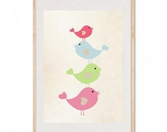 Bird Stack Nursery Art Print