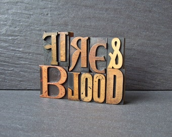 FIRE and BLOOD - Game of Thrones inspired Vintage Letterpress Words