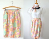 Vintage Pastel Midi Skirt - Pencil Skirt - High Waisted Skirt - Mint Green Skirt