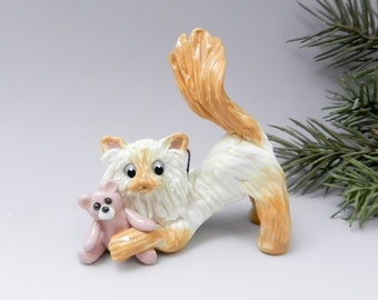 Himalayan Persian Cat Flamepoint Christmas Ornament Figurine Teddy Bear Porcelain