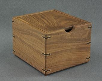 Wooden Recipe Box for 4x6 Recipe Cards- Solid Black Walnut