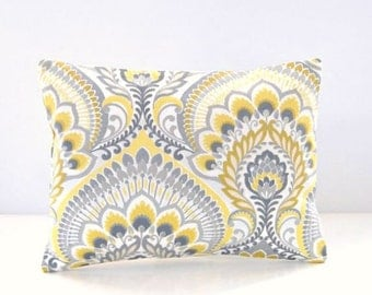 decorative pillow cover citrus lemon yellow, grey, mustard retro floral , 12 x 16 inch lumbar cushion cover