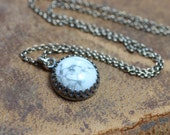 Full Moon Necklace White Gemstone Cabochon Pendant Crown Bezel Sterling Silver Chain Rustic Jewelry