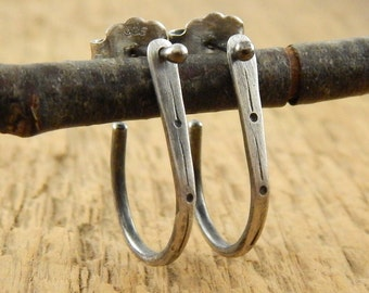 Post hoop earrings, drop hoops, sterling silver, two in one earrings, handmade sterling silver hoops, ready to ship.
