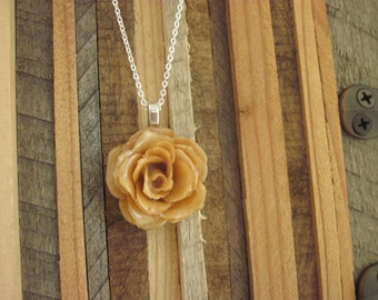 """Real Flower Necklace - Cream Rose Bloom on 16"""" sterling silver chain - fall garden sweet pendant floral hippie gypsy chic retro mod botany"""