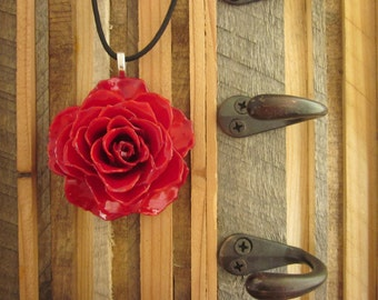 """Large Red Rose - Real Flower Necklace on 18""""  black cord - botany, gardener, mother, love, wedding, anniversary, girlfriend, wife, romantic"""