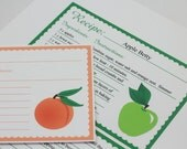 Fruit Recipe Cards 4 x 6 Editable Recipe Card Apple Peach Cherry Strawberry Digital Recipe Card Bridal Shower Gift Printable