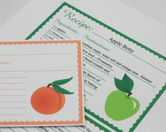 Fruit Recipe Cards 4 x 6 Editable Recipe Card Apple Peach Cherry Strawberry Digital Recipe Card Bridal Shower Gift Printable