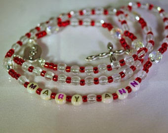 Personalized Crystal Rosary - Jewish, Catholic or Anglican, Made to Order - Any Colors
