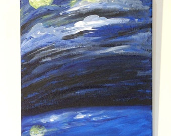 sky painting, Moon Over the Ocean, original acrylic painting on canvas, ocean painting, seascape, original art, wall art