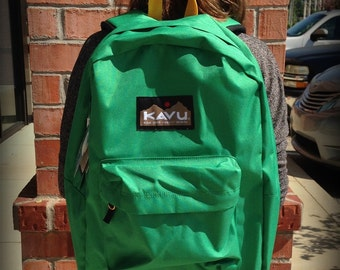 Monogrammed Kavu Backpack - Green with gold, Back to School, Teen, College Book Bag