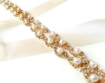 Crystal Pearl Weave Bridal Belt Sash in GOLD - Custom Satin Ribbon - Rhinestone Pearl Wedding Dress Belt - Extra Long Longest