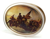 Large Vintage Tin with TWO Lids, American Revolution Paintings, Washington Crossing the Delaware, Signing the Declaration of Indepenence