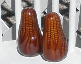 Corn Salt and Pepper Shakers Vintage Brown