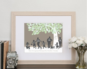 Papa's Team, Personalized Silhouette Print Grandpa's grandchildren, his team's colors // Choice of print Size & Type// H-F05-1PS ZZ8
