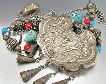 Antique Chinese Silver Lock Necklace, Coral Turquoise Bead Amulet Pendant Necklace, Asian Jewelry, Wedding Lock, Rare 19th Century Charm