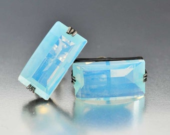 Art Deco Earrings, Rock Crystal Moonstone Earrings, Sterling Silver Earrings, Opalescent Glass Quartz Crystal, Vintage 1940s Japanese