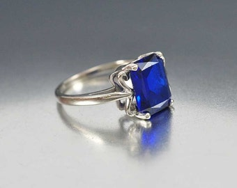 Blue Sapphire Ring, Unique Engagement Ring, Art Deco Ring, 10K White Gold Ring, Vintage Sapphire Jewelry, Birthstone Ring, Anniversary Gift