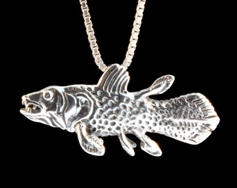 Fish Necklace - Coelacanth Fish Charm - Fish Pendant - Fish Jewelry - Silver Fish