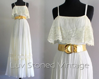 70s Vintage Lace Pleated Bohemian Boho Hippie Wedding Bridal Beach Ethereal Maxi Prom Dress | SM | 1053.7.30.15 | hanger