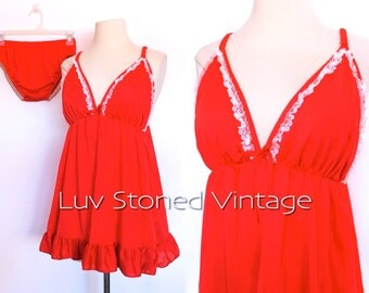 60s Red Glam Pin up Nighty Teddy Nightgown Negligee Lingerie Hollywood 2 Piece | SM | D008 | 1058.7.31.15