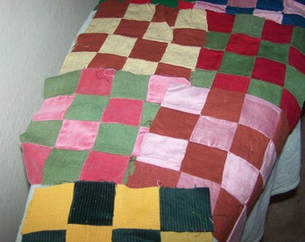 "36 Vintage Quilt Blocks, Each 9"" Square, Ready to Assemble Quilt Top, Wool, Corduroy, FREE SHIPPINGy"