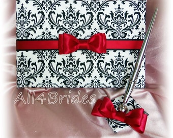 Wedding guest book and pen set, Madison damask, red and black wedding accessories