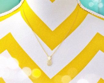 Gold Pineapple Necklace, Dainty Charm Necklace, Pineapple Jewelry, Summer Necklace