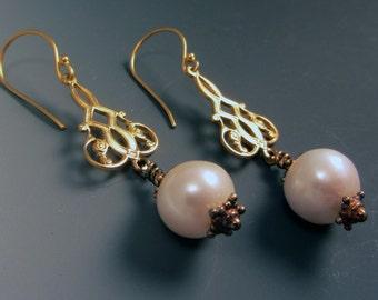Huge Genuine Pearl Drop Earrings Vermeil Gold OOAK Unique