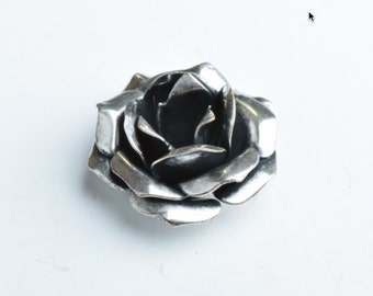 Hand Crafted Metal Flower , MADE IN USA, brass , silver plated , G344CS