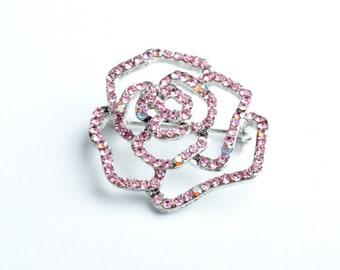 35mm Small Rose Pin, Crystal/Crystal Pink AB EA   B4088.01