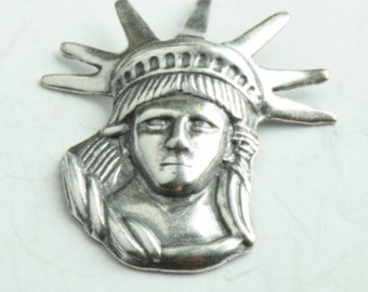 Statue of Liberty charm, USA made, Brass plated silver , sold 4 each per package 03316