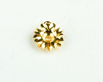 Flower Drop charm, with 3mm stone setting with loop bright gold plate, 6ea per sale,  15134