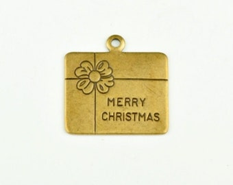 Merry Christmas package charm 12mm Brass plated 15153