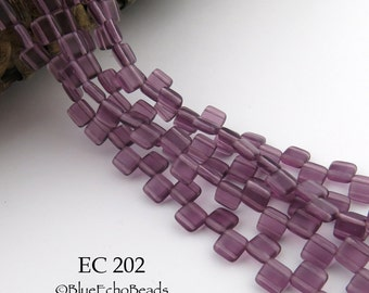 6mm 2 Hole Czech Glass Translucent Matte Purple Square Tile Bead (EC 202) 25 pcs BlueEchoBeads
