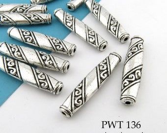 26mm Pewter Beads Antique Silver Long Flat Tube with Scroll (PWT 136) 8 pcs BlueEchoBeads