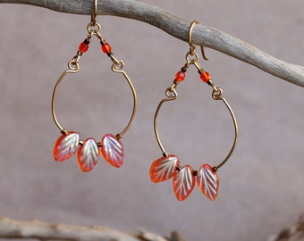 Leo Earrings, stunning orange glass leaf earrings,