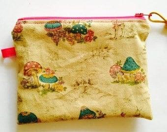 Handmade Cloth Zipper Bag, Japanese Linen Woodland Mushroom Print