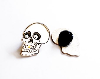 Gold Tooth Skull Soft Enamel Lapel Pin