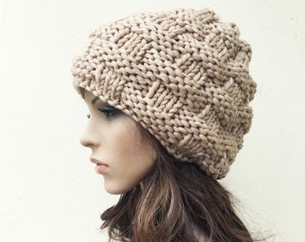 Hand Knit Hat Woman Hat  Beret Hat wheat Hat Beret Wheat Beanie Womens