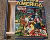 Captain America Box - Comic Book Jewelry Box -  Wooden Box - Captain America Box - Wooden Jewelry Box with Drawer - Comic Book Jewelry Box.