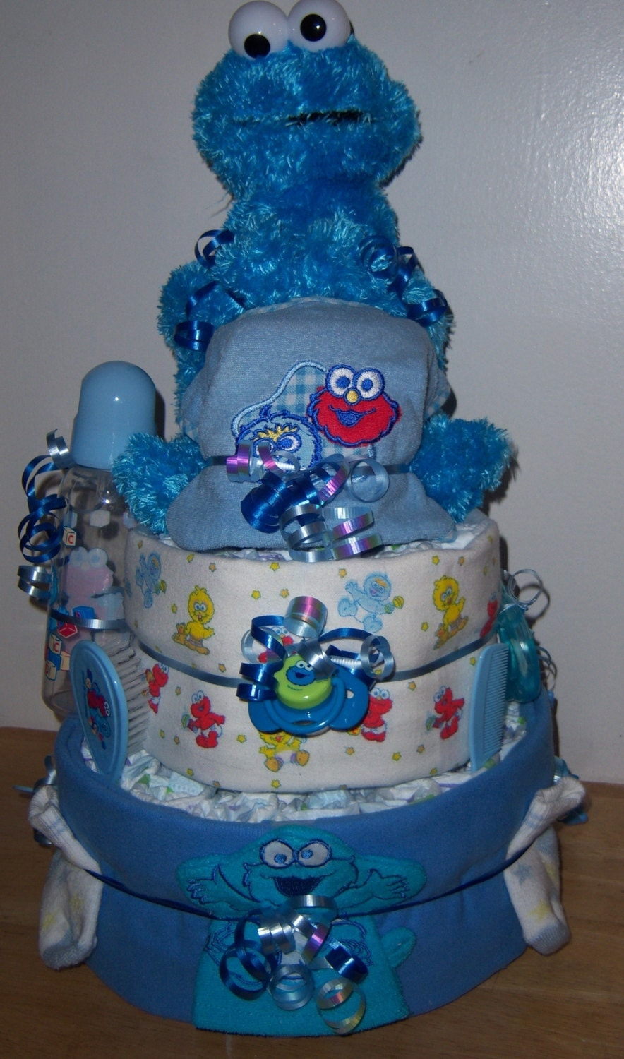Baby shower 3 tier sesame street diaper cake - Sesame street baby shower ...