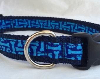 Bright Bones Adjustable  Nylon Dog Collar custom size to fit any size dog