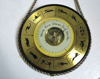 Vintage Barometer Astrology Horoscope Nautical Motif West Germany Mid Century Thermometer