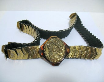 Victorian Theme Bakelite Type Brass Belt & Buckle Vintage Embossed Women in Hat