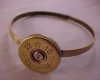 Bullet Bangle Bracelet - 12 Gauge Shotgun Shell - Free Shipping to USA